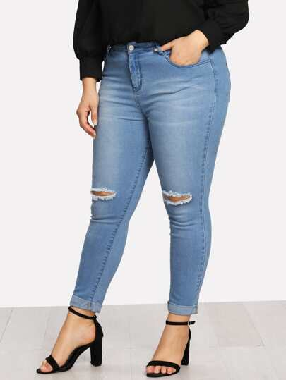 Rolled Up Hem Ripped Knee Jeans