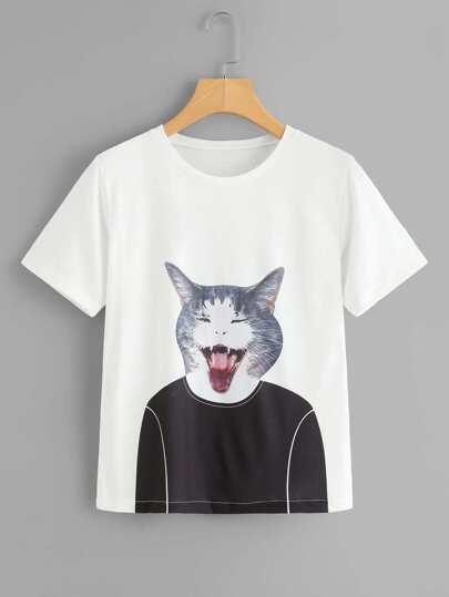 Cat Print Short Sleeve Tee