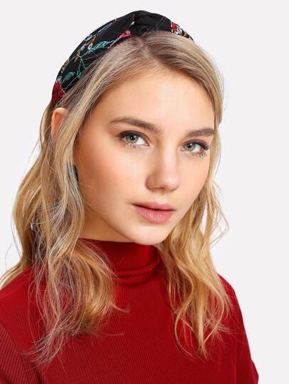 Embroidered Twist Headband