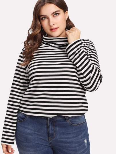 Cowl Collar Striped Top
