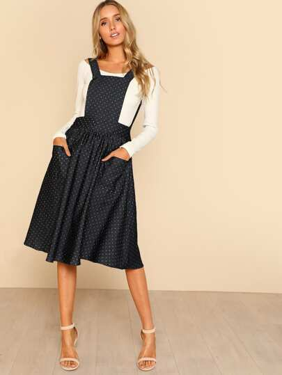Dot Flare Dress With Strap