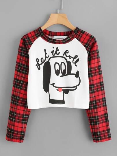 Tee-shirt court contrasté imprimé de l\'animation en tartan à carreaux