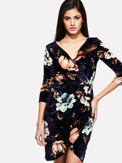 Overlay Floral Print Surplice Dress