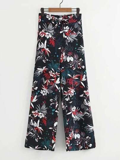 Floral Print Self Tie Pants