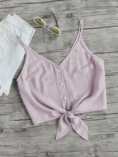 Button Placket Knot Front Cami Top