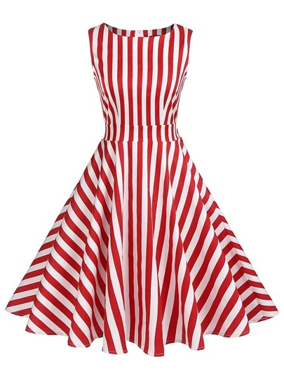 Contrast Stripe Pleated Dress
