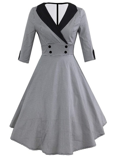 Contrast Collar Houndstooth Circle Dress