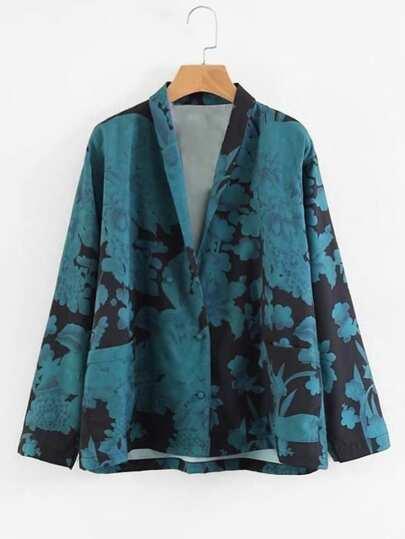 Shawl Collar Floral Blouse