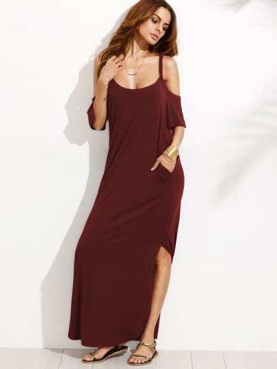 a2de6bd524e95 Pocket Open Shoulder Split Full Length Dress