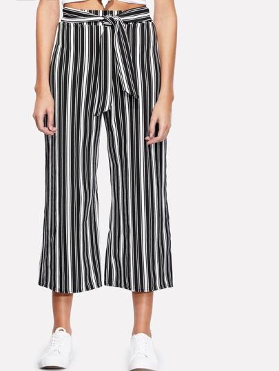 Vertical Striped Self Tie Wide Leg Pants