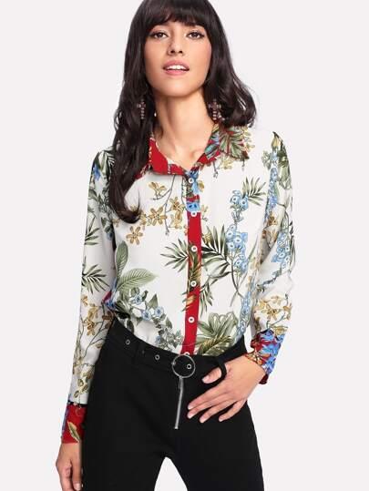 Button Up Botanical Print Shirt
