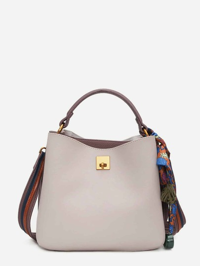 PU Shoulder Bag With Scarf Tassel