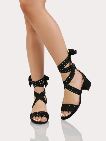 Faux Suede Ankle Wrap Studded Block Heel with One Band BLACK