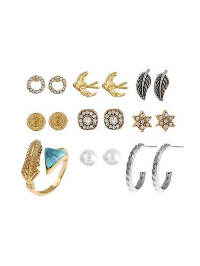 Geometric Shaped Ring & Earring Set With Gemstone