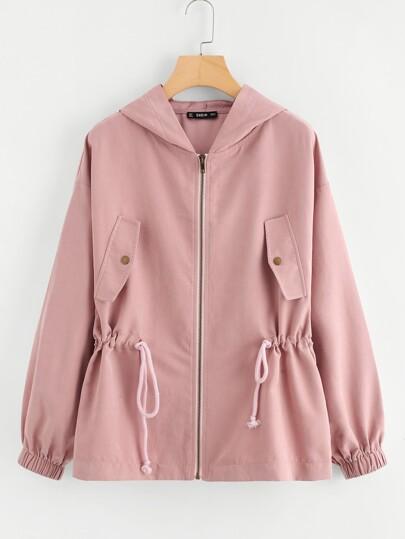 Drawstring Waist Hooded Jacket