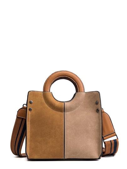 Color Block Ring Handle Shoulder Bag