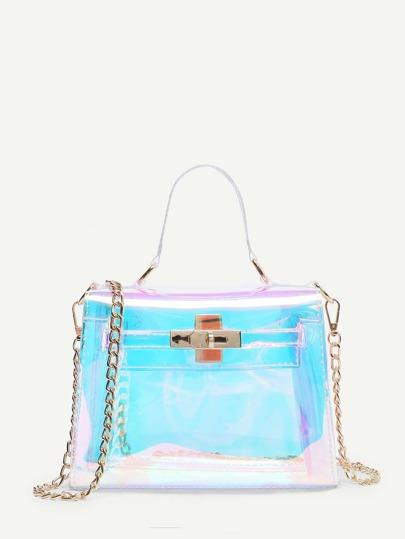 Iridescence Clear Satchel Bag