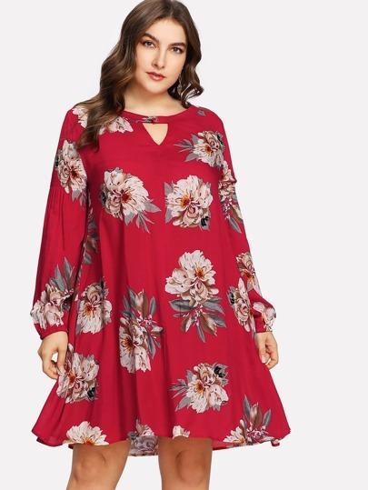 V Cut Buttoned Neck Floral Dress