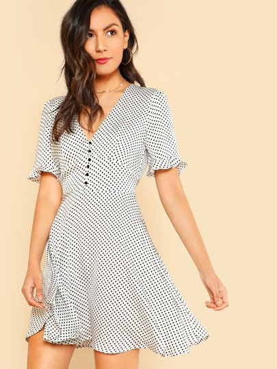 Ruffle Sleeve Polka Dot Plunging Dress
