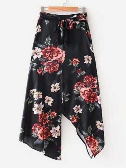 Self Tie Asymmetrical Floral Skirt