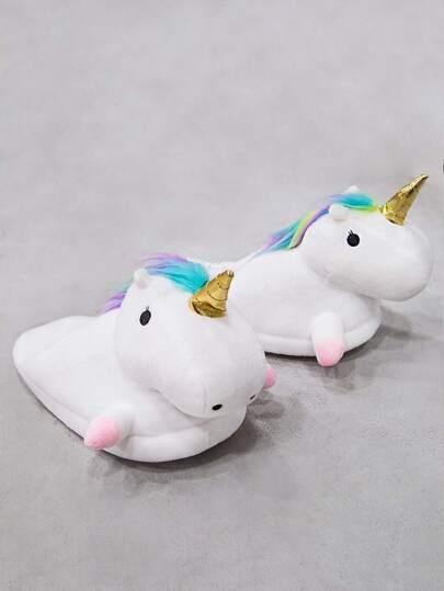 Plush Unicorn Slippers WHITE