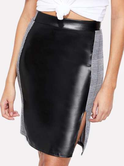 Falda de cuadros con abertura