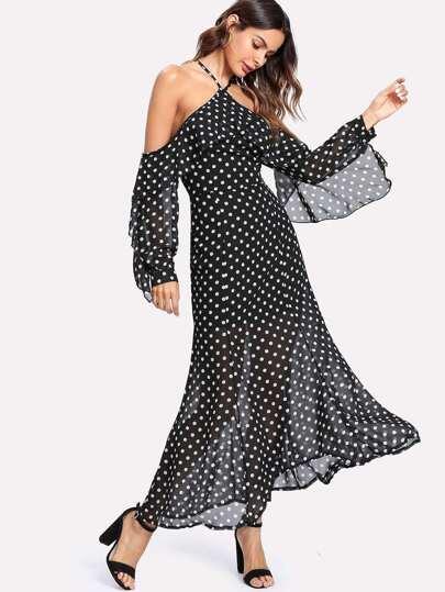 Halter Off Shoulder Semi Sheer Polka Dot Dress