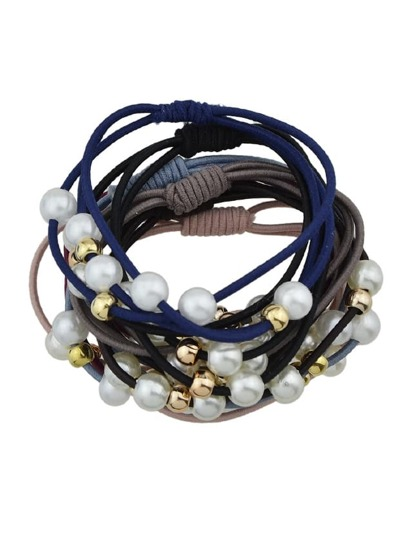 Multi-Colored Pearl Elastic Head Rope 7-Pieces Set