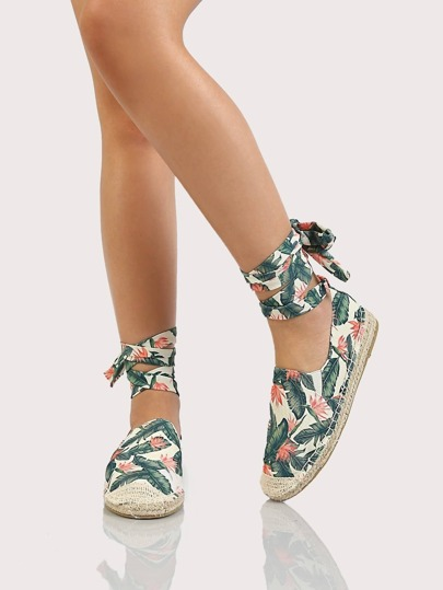 Tropical Espadrille Lace Up Flatform Loafers GREEN CORAL