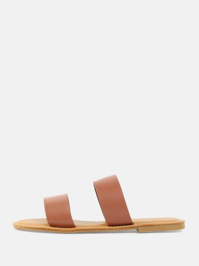 Open Toe Double Strap Sandals TAN