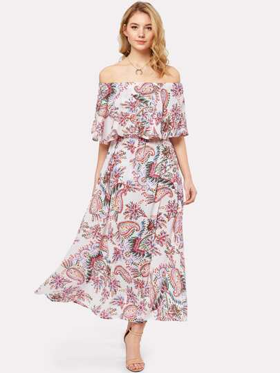 2ac85612d3fcd Paisley Print Flounce Bardot Dress