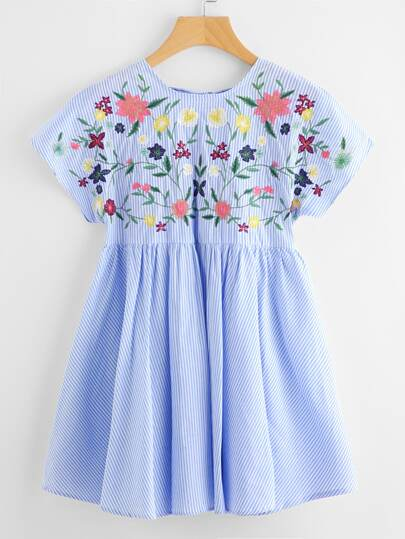 Lace Up Back Striped Embroidery Smock Dress