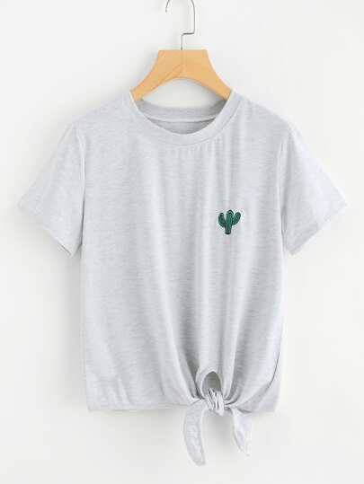 Cactus Embroidered Knot Front Tee
