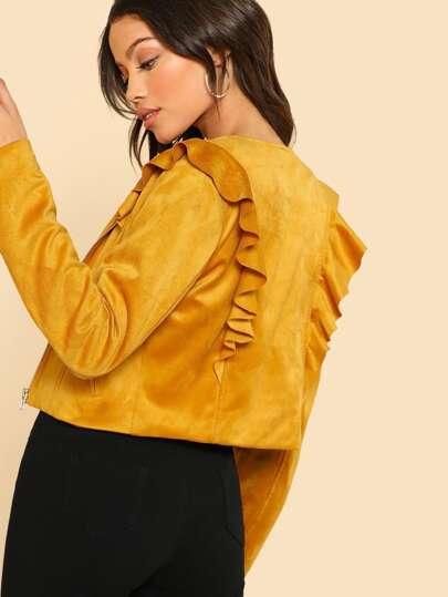Ruffle Detail Zip Up Suede Jacket