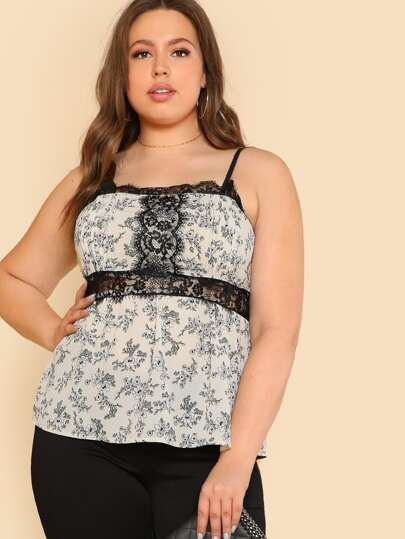 Contrast Lace Smock Cami Top