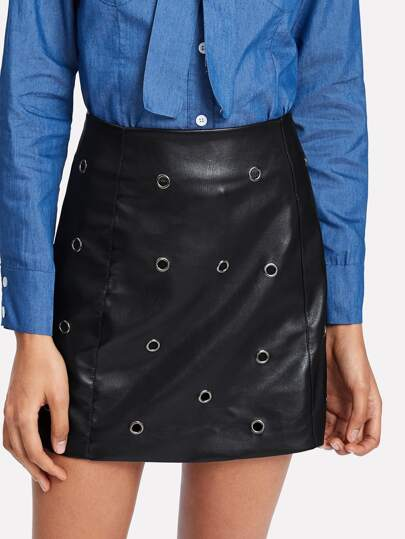 Grommet Detail Coated Skirt