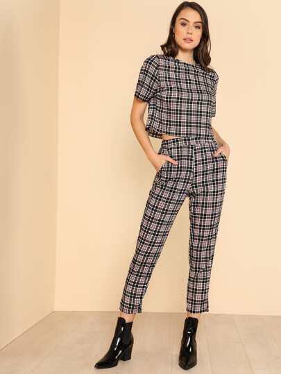 Plaid Crop Top & Elastic Waist Pants Set