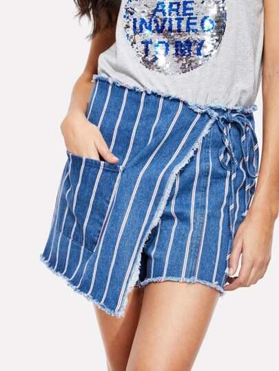 Raw Trim Pocket Front Wrap Skirt