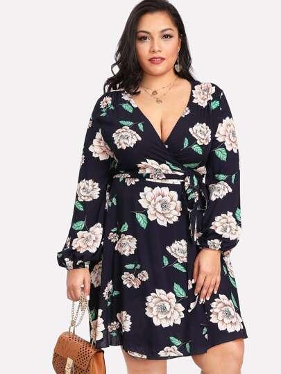 Self Belted Floral Wrap Dress