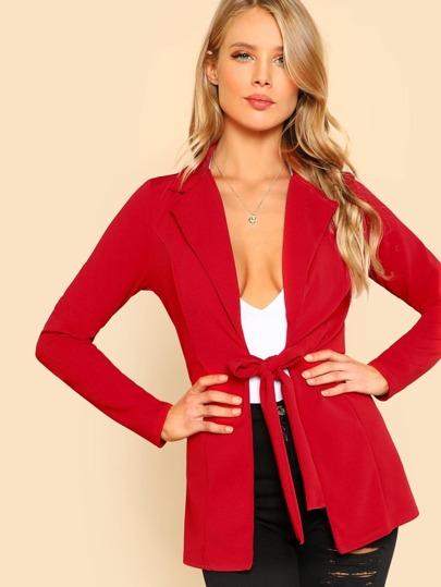 Tie Front Blazer RED