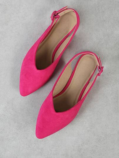 Faux Suede Pointy Flat with Ankle Strap FUCHSIA