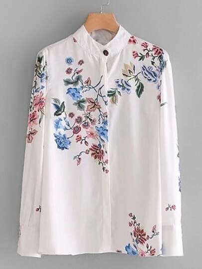 Band Collar Floral Blouse