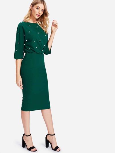 Pearl Detail Slit Back Blouson Dress