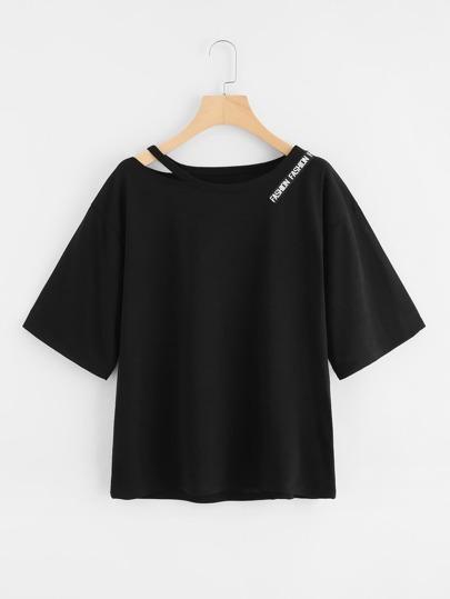 Tee-shirt col découpé détail de bande imprimée