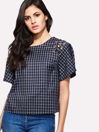 Grid Print Lace Up Top