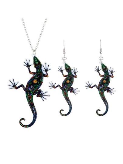 Lizard Necklace Earrings Set
