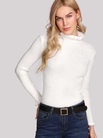 Frill Trim Ribbed Jumper