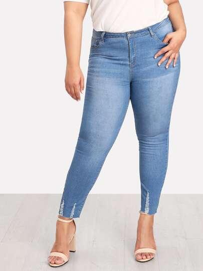 Bleached Raw Hem Skinny Jeans
