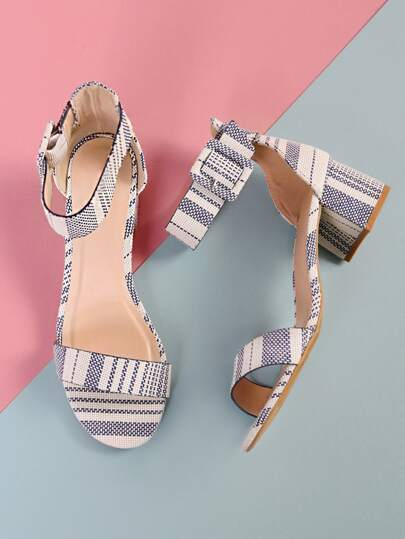 Striped Weaved Ankle Strap Low Block Heels NAVY WHITE