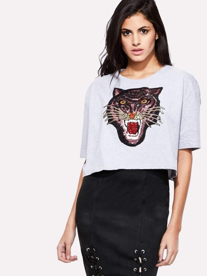 Sequin Tiger Print High Low Tee
